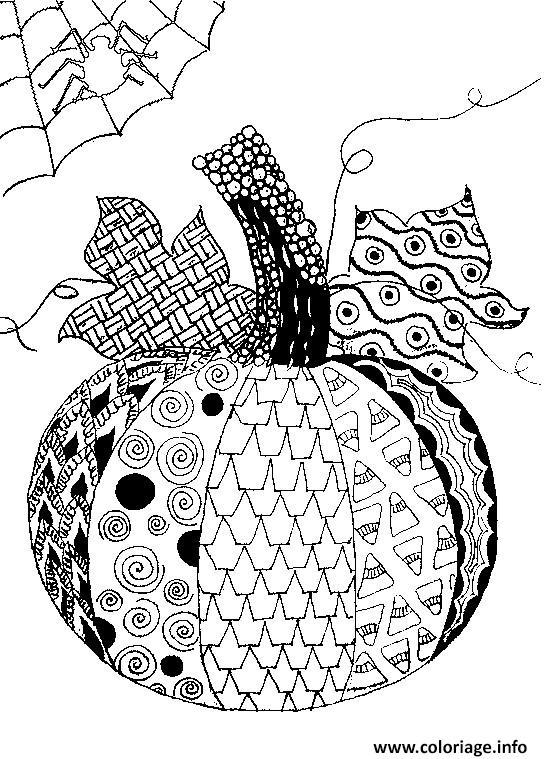 Coloriage Halloween Adulte Citrouille Avec Toile Araignee