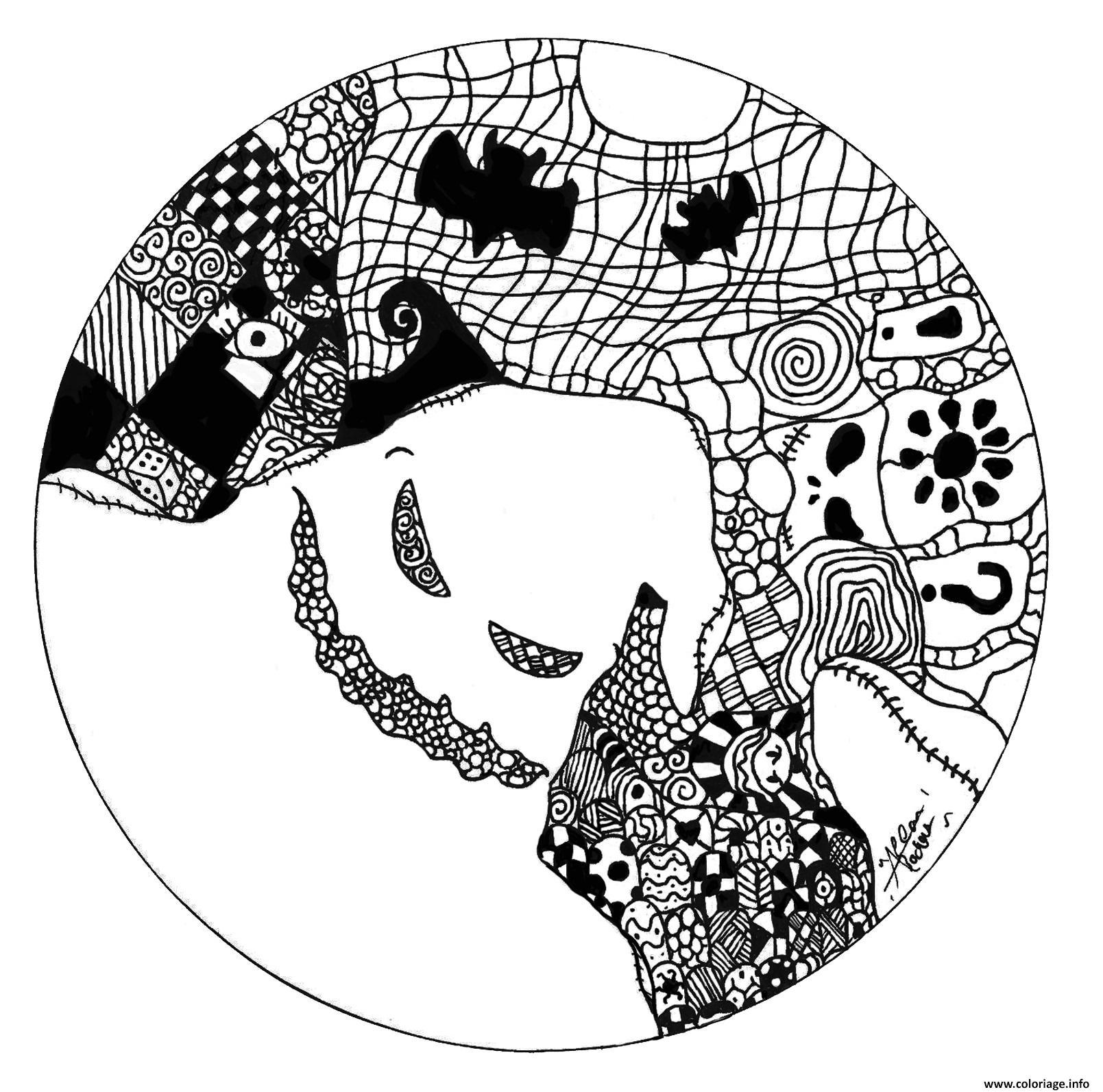 Coloriage Halloween Mandala Adulte Fantome Jecolorie Com