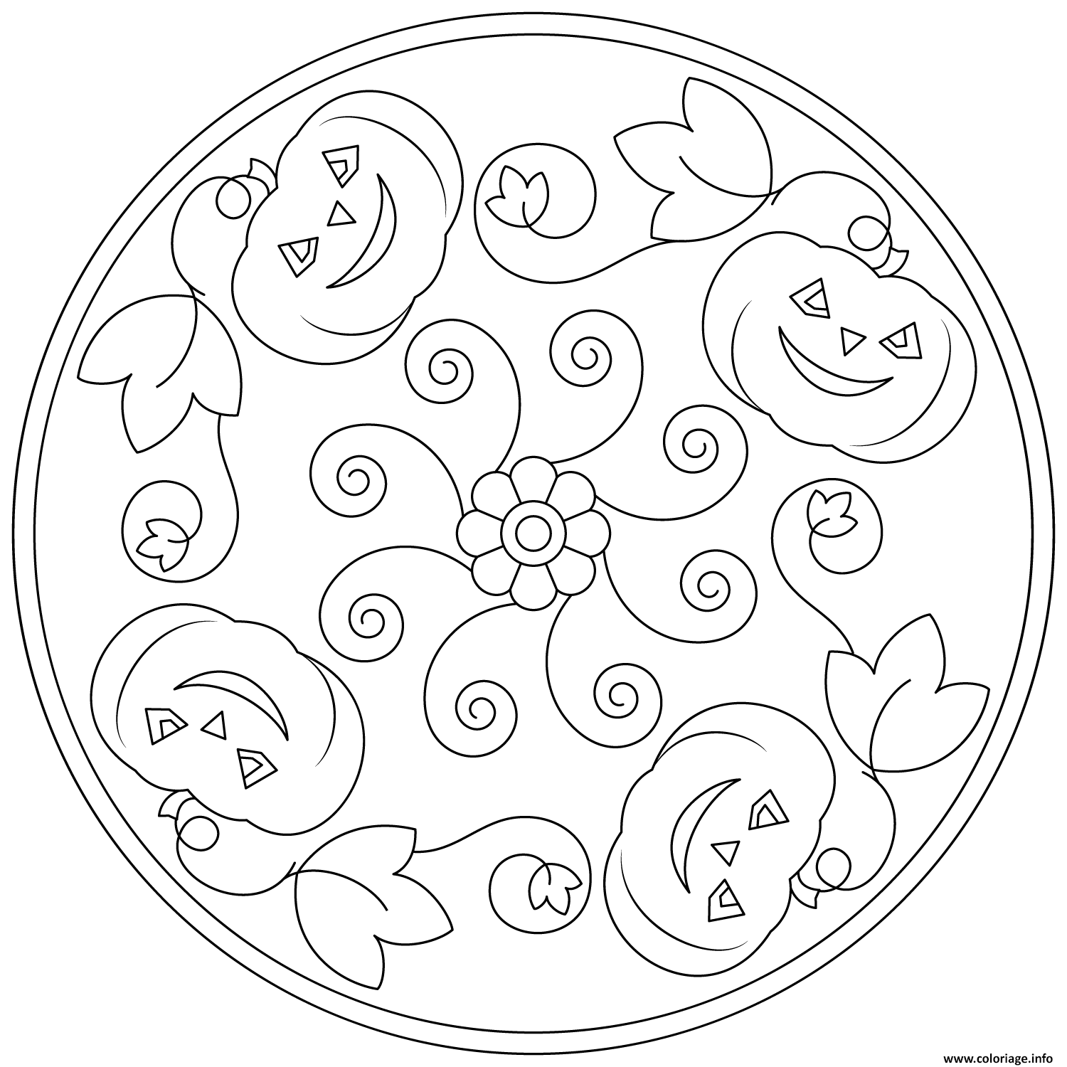 Coloriage Halloween Mandala Facile Citrouille Simple Dessin à Imprimer