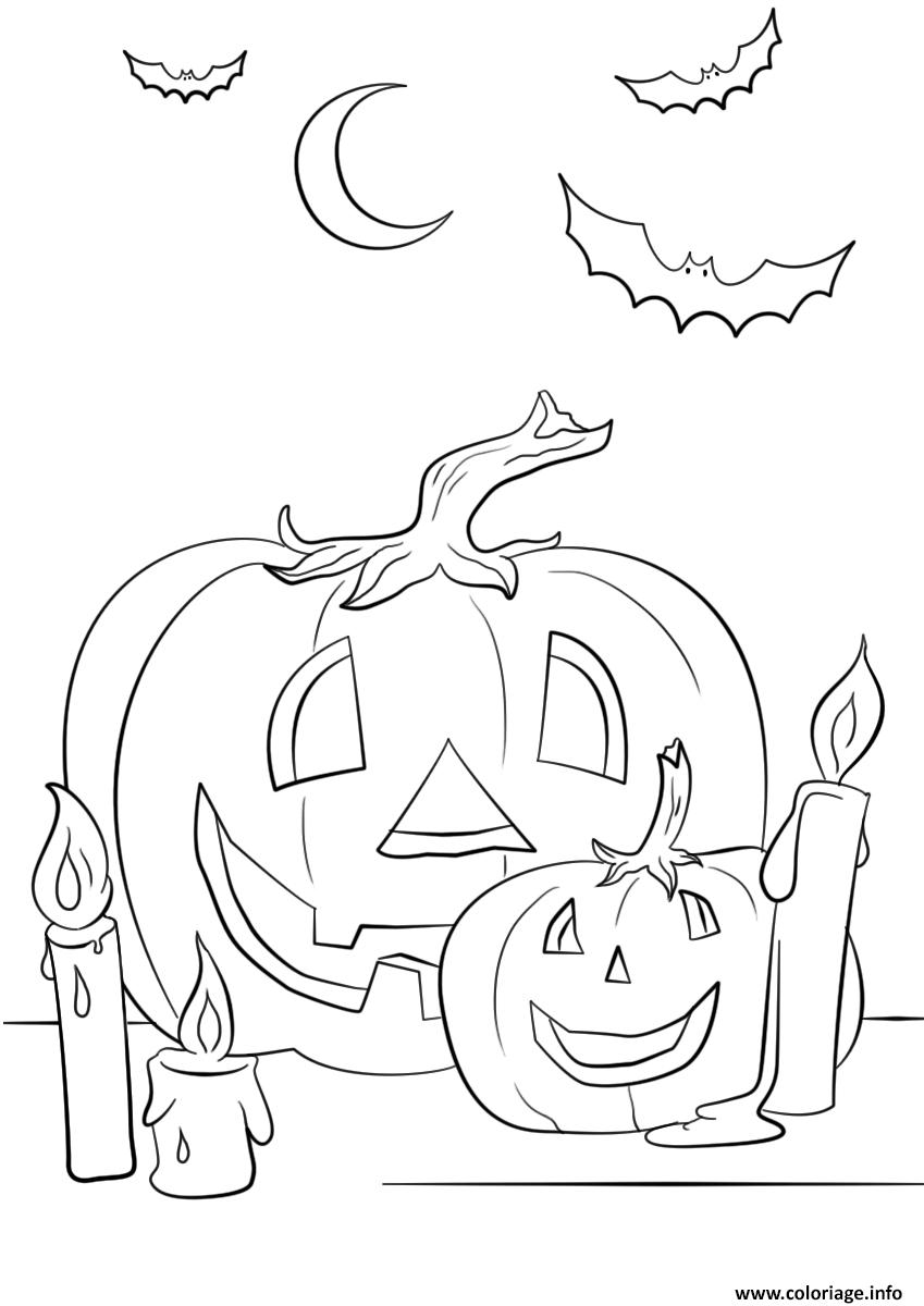 Dessin halloween citrouilles chandelle chauve souris Coloriage Gratuit à Imprimer