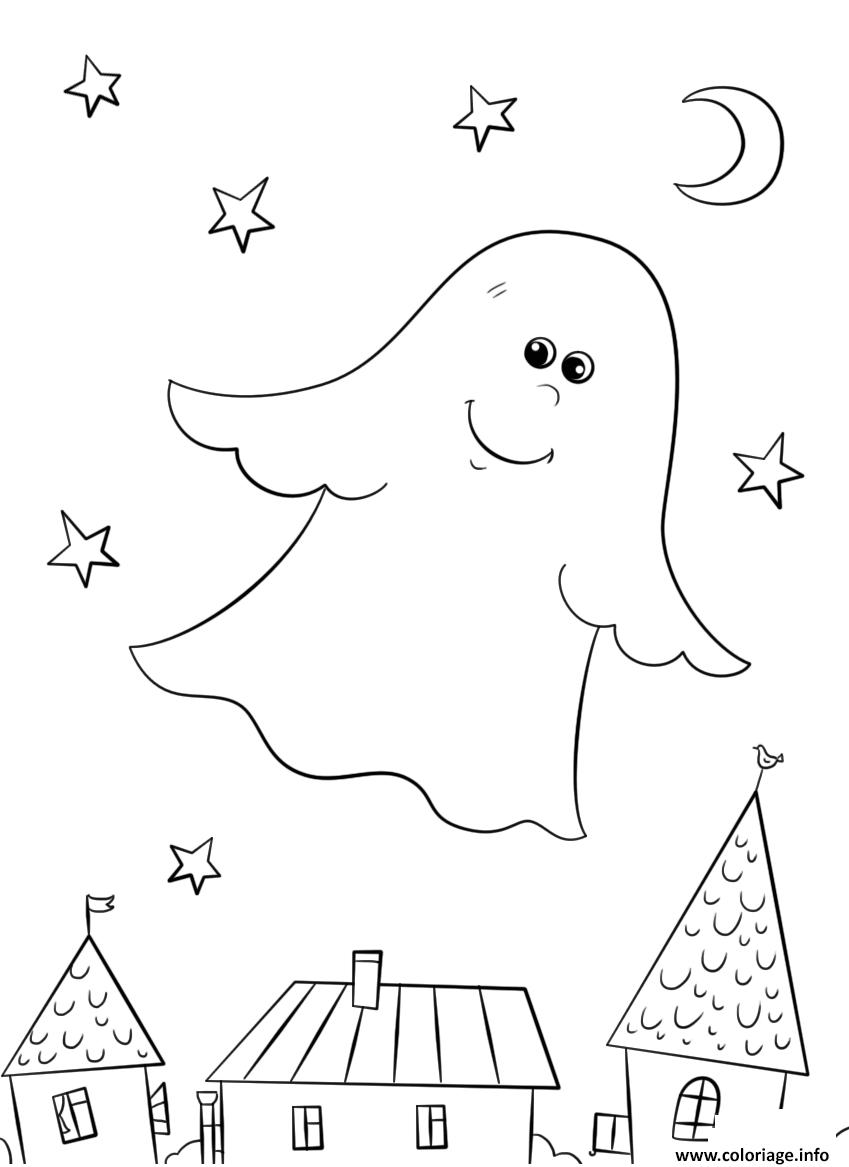 Coloriage un gentil fantome halloween dessin - Coloriage fantome halloween ...
