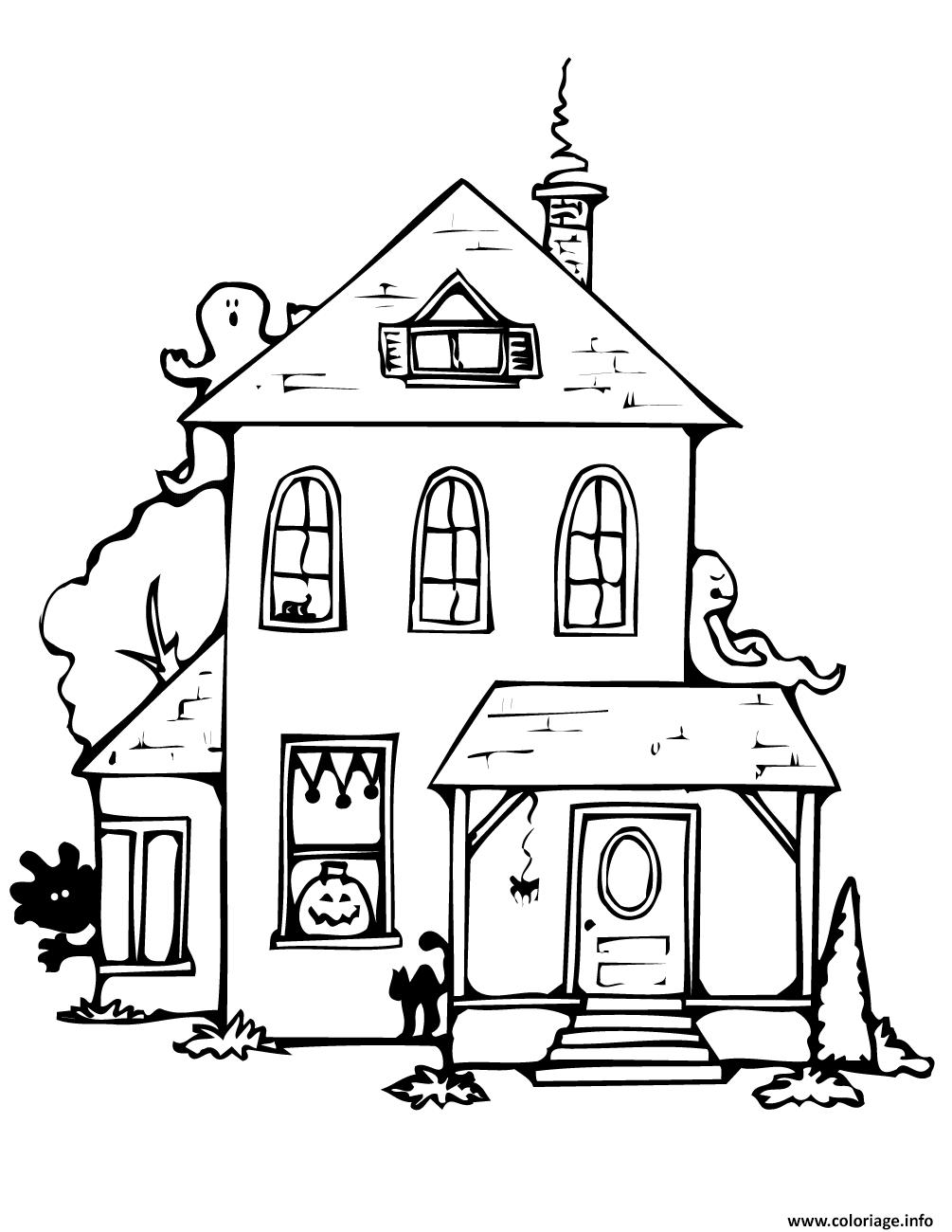 Coloriage maison hantee halloween avec fantomes dessin