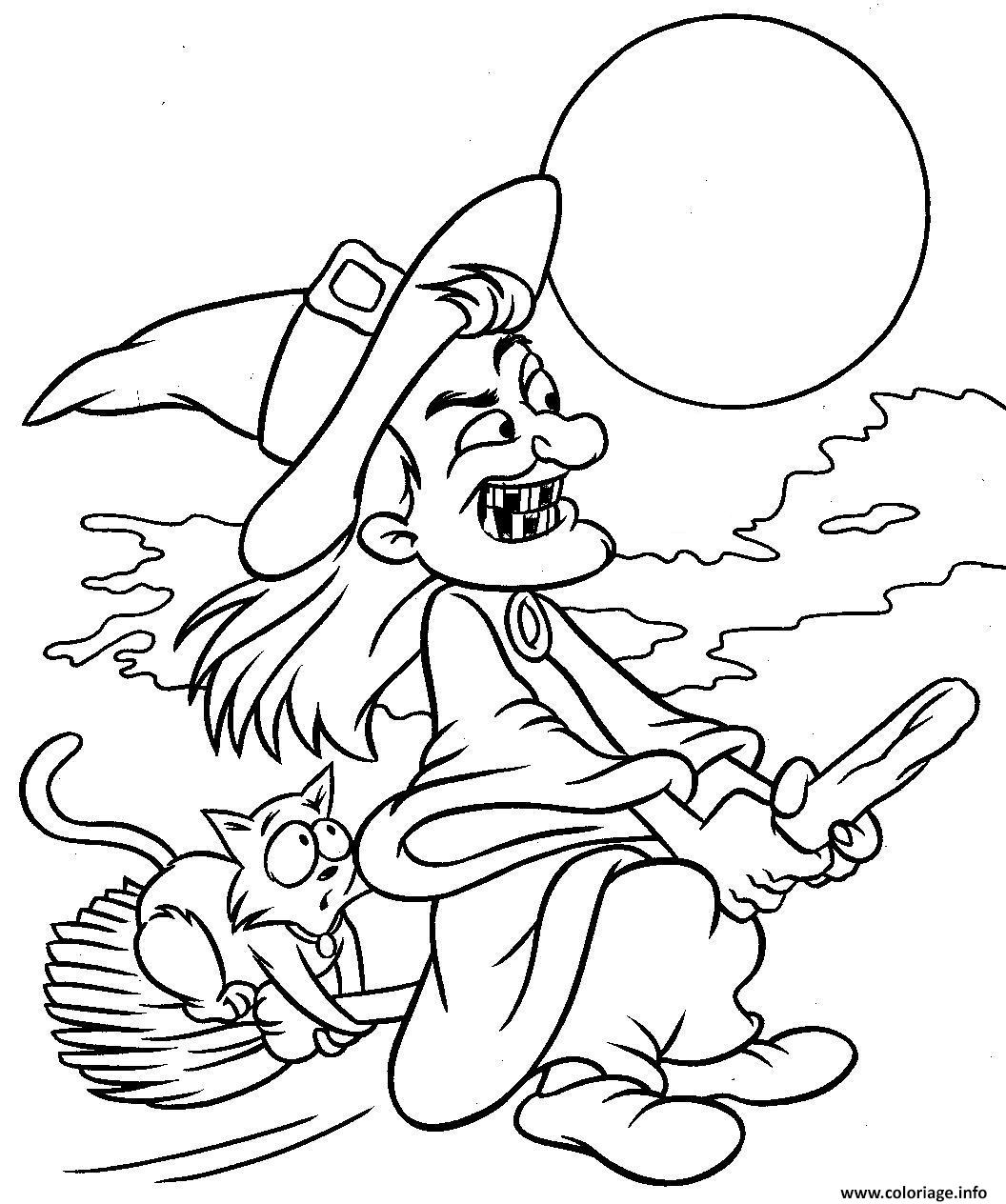 Coloriage halloween sorciere et son chat - Dessins halloween a imprimer ...