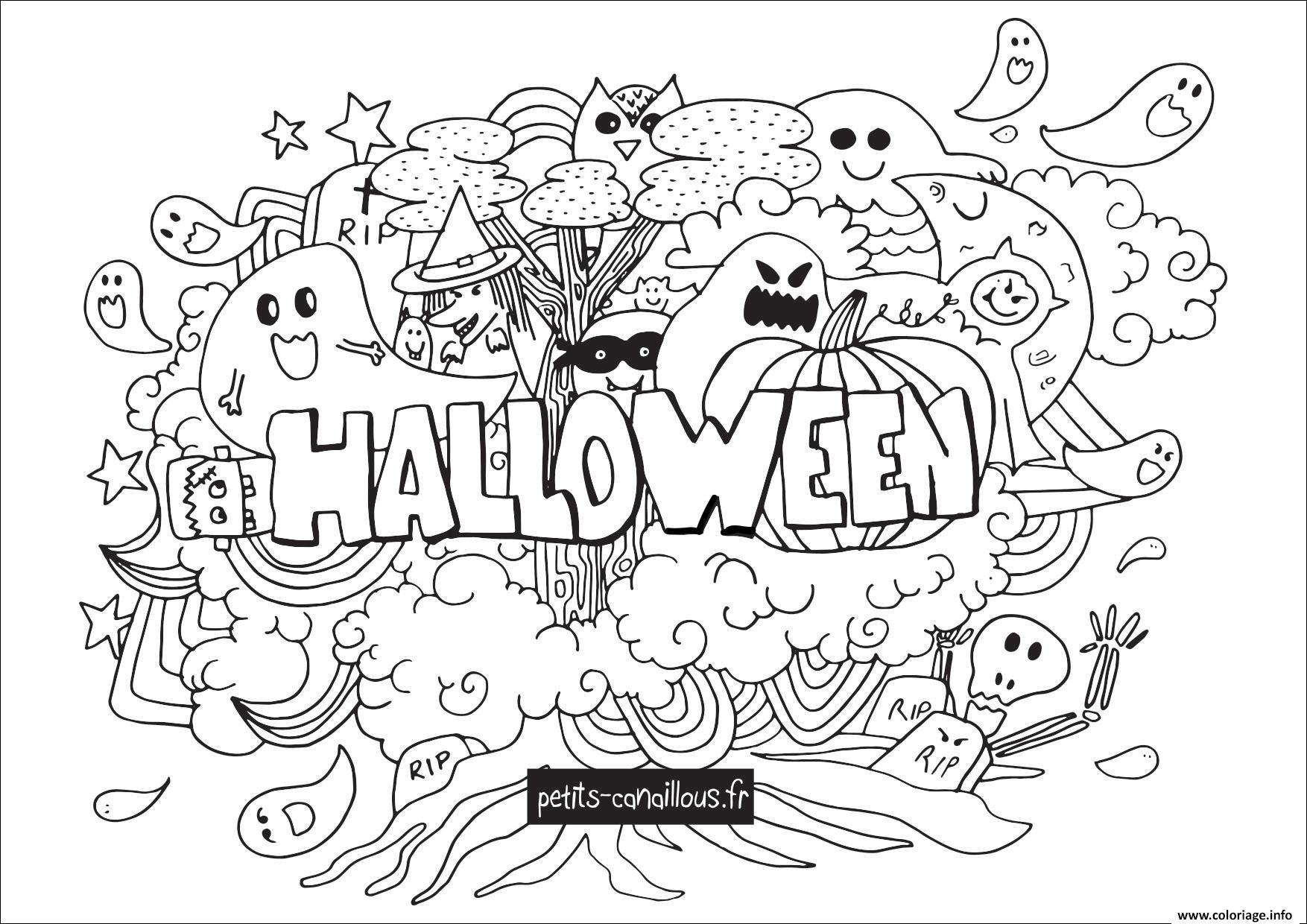 Dessin halloween doodle Coloriage Gratuit à Imprimer
