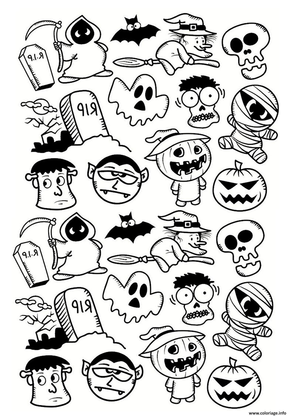 Coloriage halloween personnages doodle dessin - Halloween dessin ...