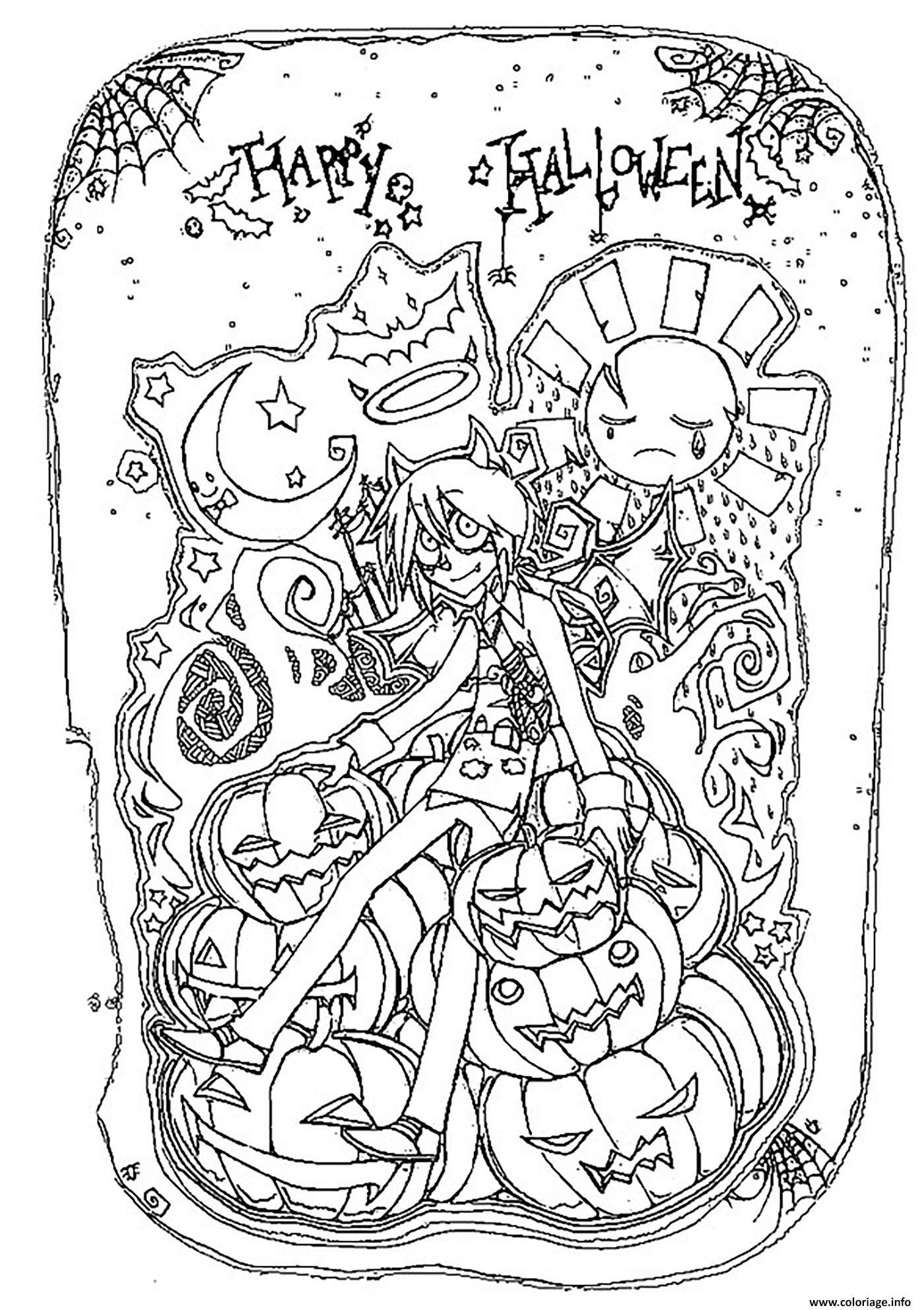Dessin joyeuse halloween personnage et citrouilles Coloriage Gratuit à Imprimer