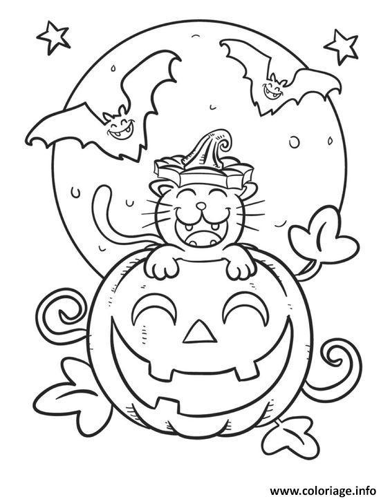 halloween citrouille souriant coloriage dessin