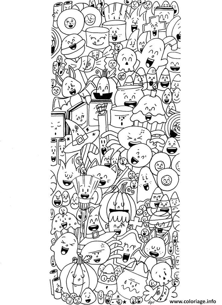 Coloriage Mandala Sorciere.Coloriage Halloween Doodle Sorciere Fantome Citrouille Chauve Souris