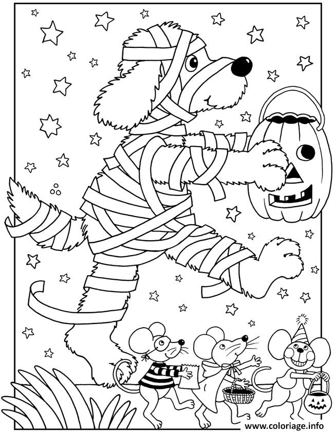 Coloriage halloween facile chien momie dessin - Dessin chien facile ...