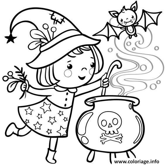 Coloriage halloween fille petite sorciere dessin - Dessin halloween a imprimer ...