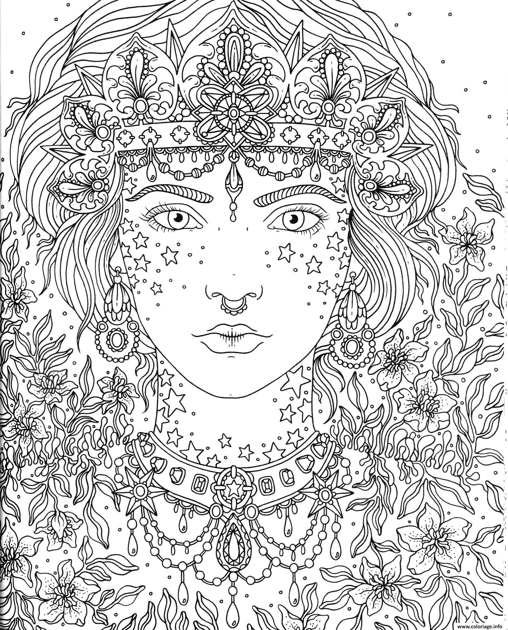 adulte princesse fleurs coloriage