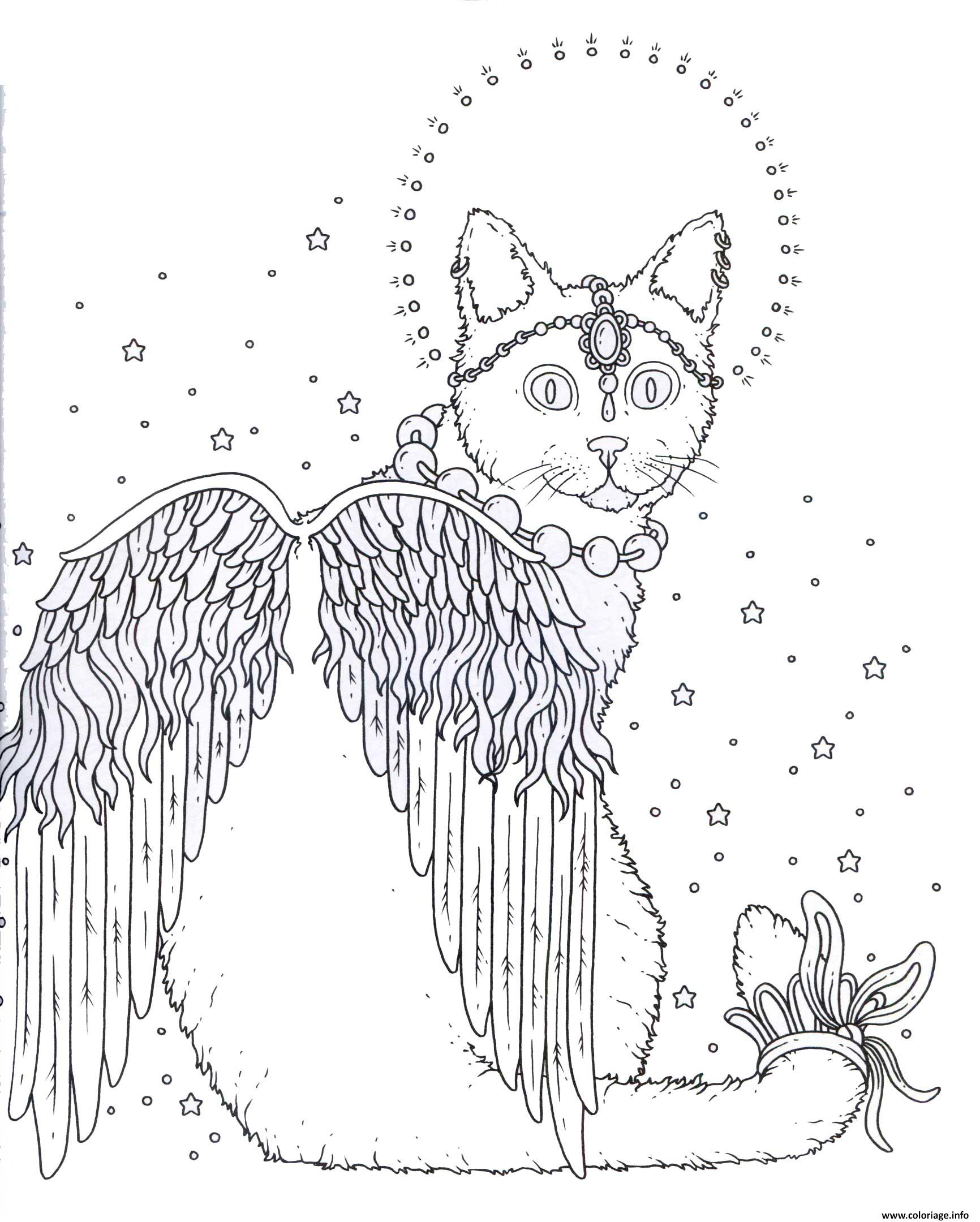 Coloriage adulte chat ange dessin - Coloriage ange ...