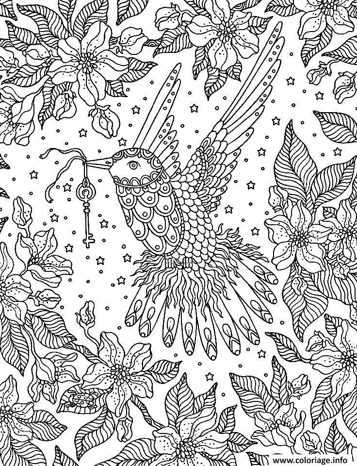 Dessin adulte oiseau tient une cle Coloriage Gratuit à Imprimer