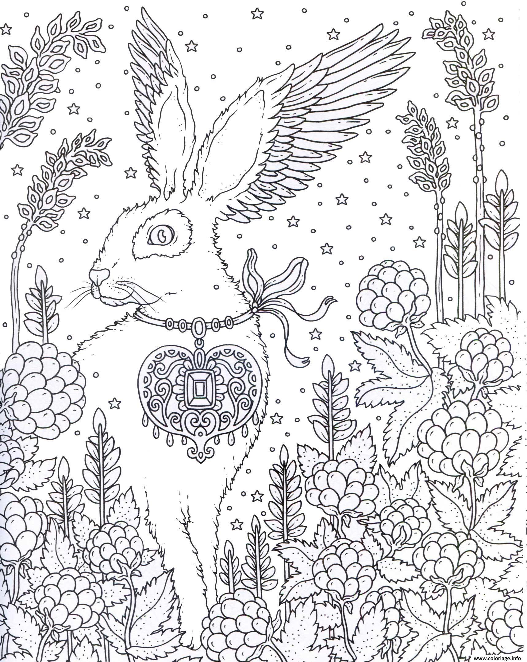 Dessin adulte lapin entoure de plantes Coloriage Gratuit à Imprimer