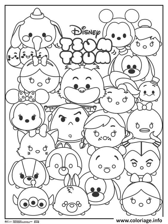 coloriage tsum tsum disney personnages dessin imprimer
