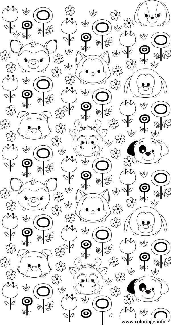 Coloriage tsumtsum garden jardin fleurs dessin - Dessin des fleurs a imprimer ...