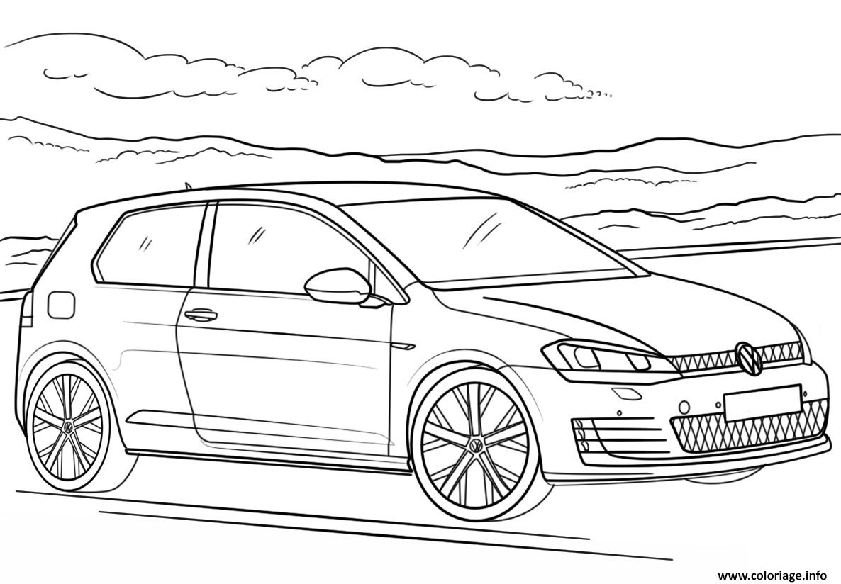 coloriage voiture volkswagen golf gti dessin. Black Bedroom Furniture Sets. Home Design Ideas