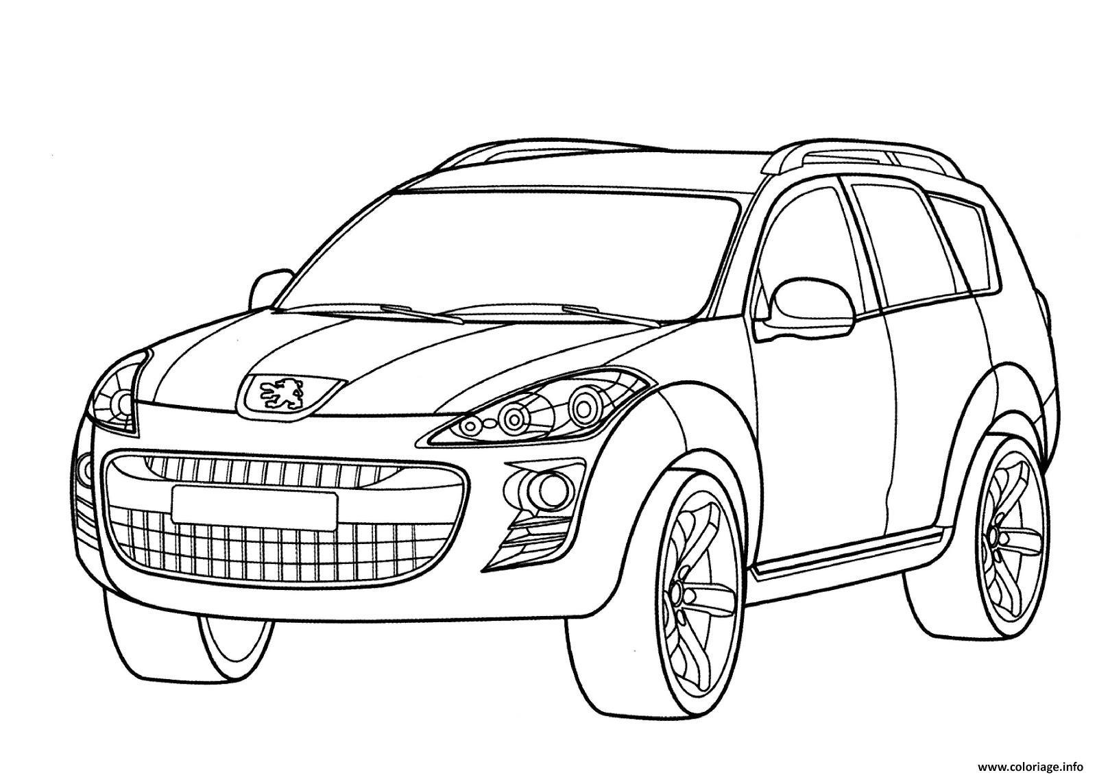 Coloriage Adulte Voiture.Coloriage Voiture Peugeot 9 Dessin