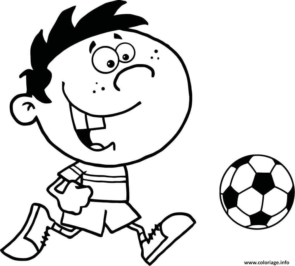 Coloriage petit enfant joue au foot - Fille joue au foot ...