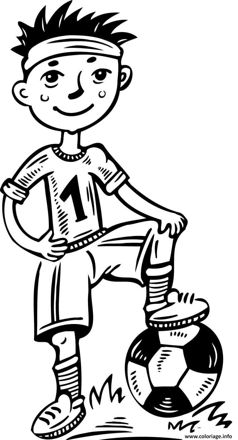 Coloriage jeune joueur de foot dessin - Image de joueur de foot a imprimer ...