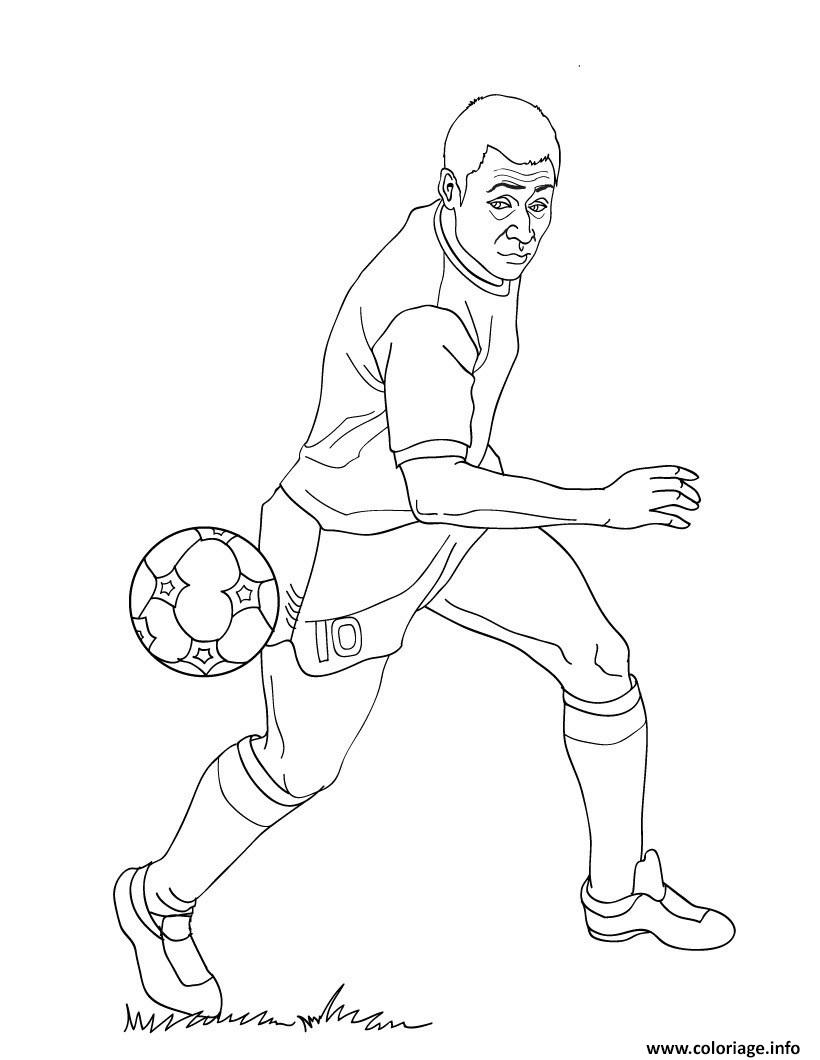 Coloriage pele joueur de football - Dessins de football ...