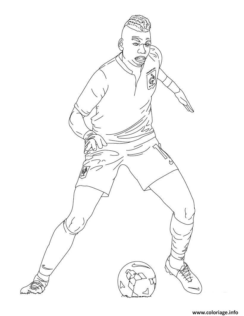 Coloriage paul pogba joueur de foot france - Dessin de joueur de foot a imprimer ...