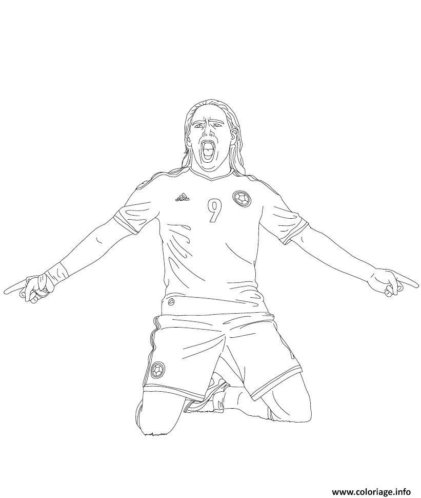 Dessin radamel falcao joueur de foot Coloriage Gratuit à Imprimer