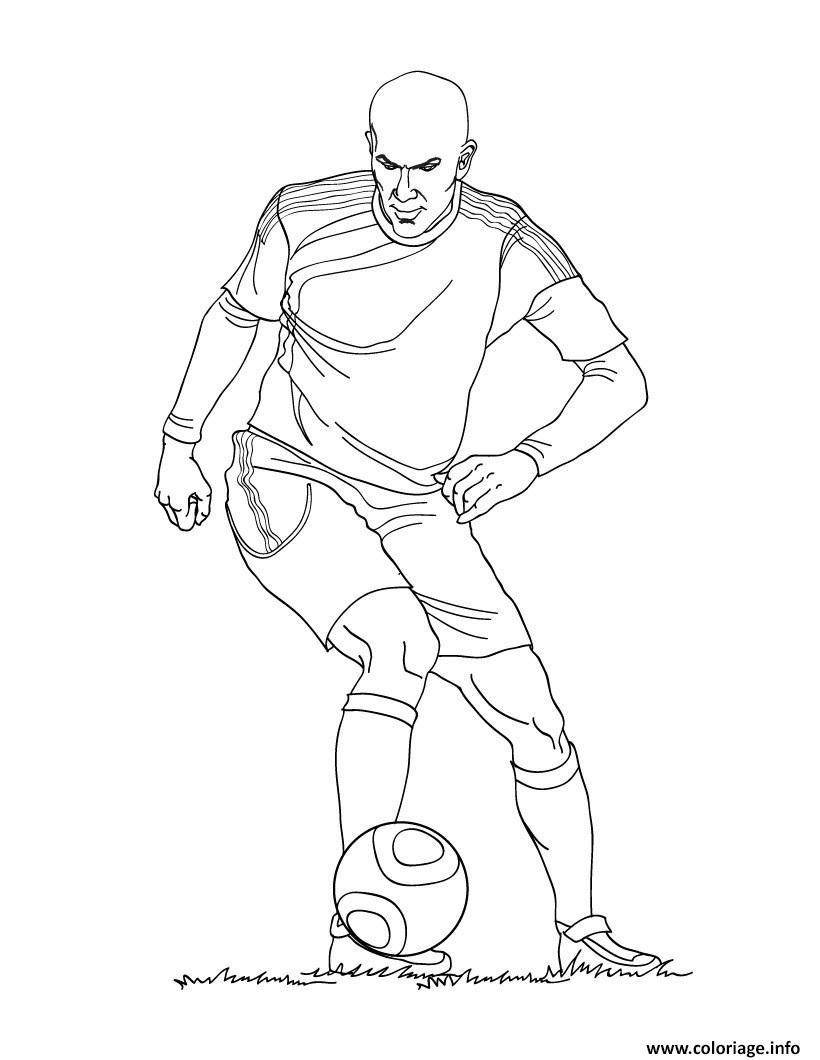 Coloriage zinedine zidane joueur de foot france - Dessin de joueur de foot a imprimer ...