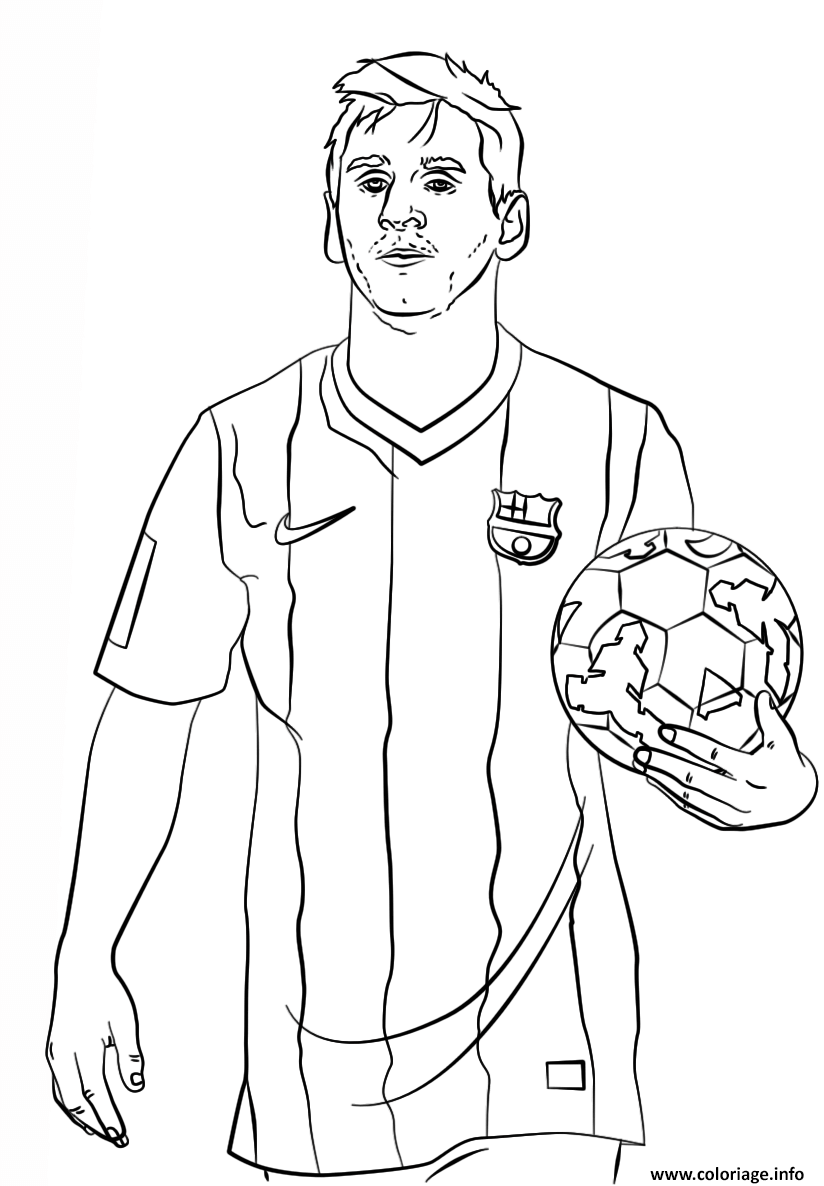 Coloriage Lionel Messi Foot Football Dessin