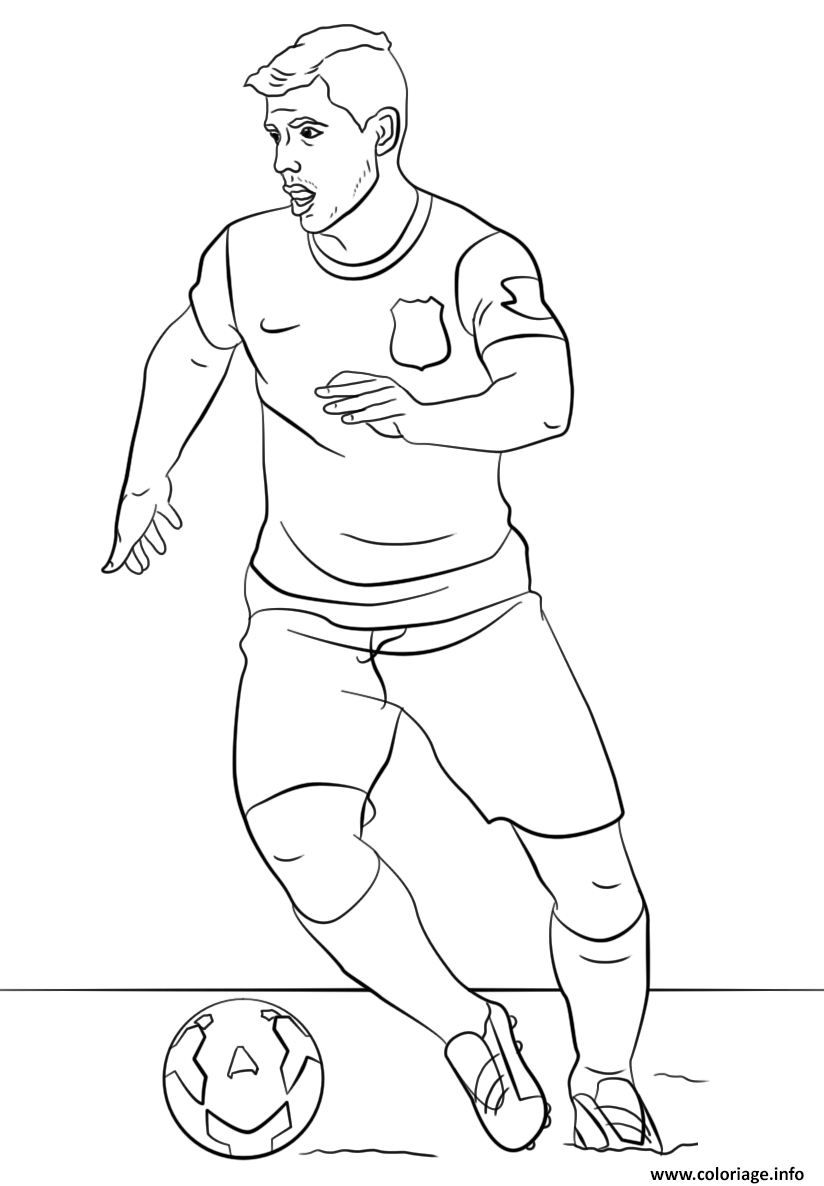 Coloriage Sergio Aguero Foot Football Dessin à Imprimer
