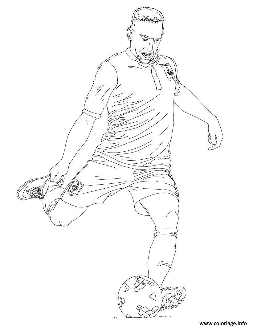 Coloriage franck ribery joueur de foot france - Dessin de joueur de foot a imprimer ...