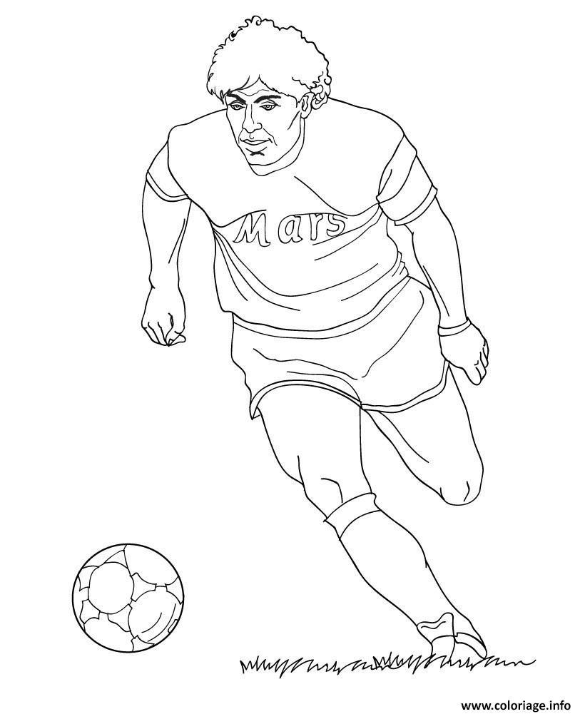 Coloriage diego maradona joueur de foot - JeColorie.com