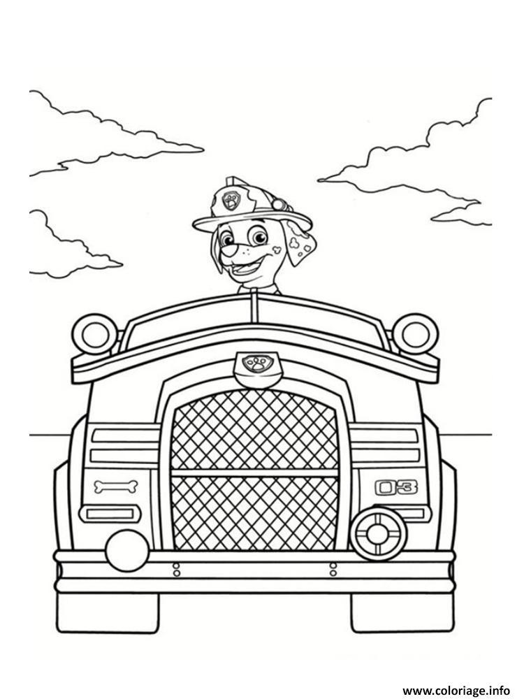 Coloriage marcus dans son camion de pompier dessin - Dessin pompier a imprimer ...