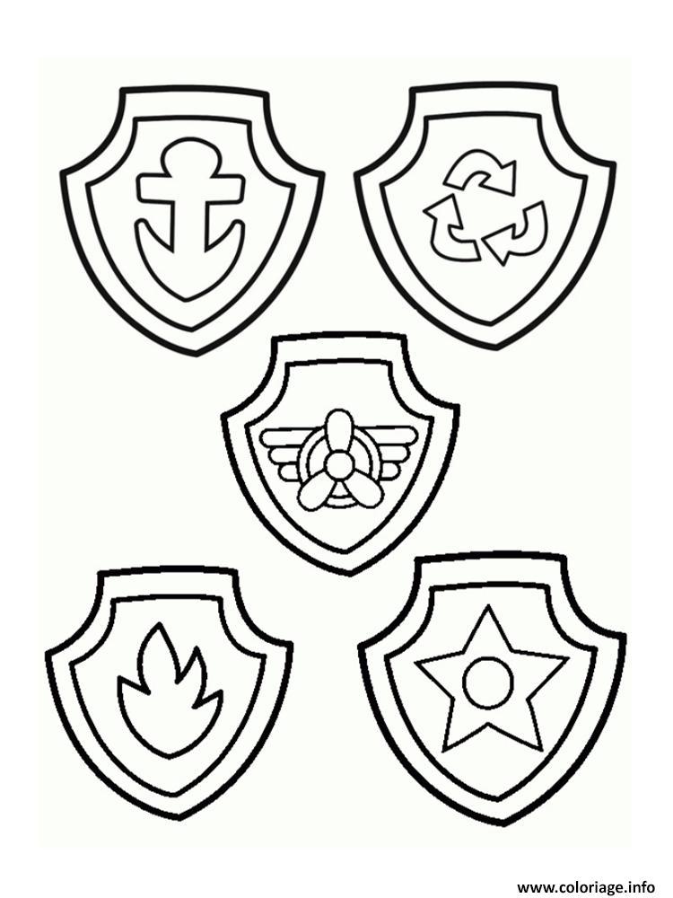 les badges de pat patrouille coloriage dessin