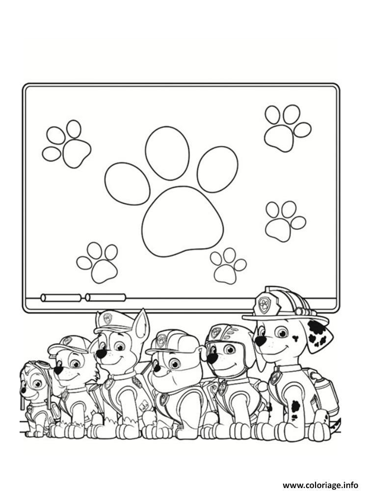 Coloriage pat patrouille en classe de cours ecole dessin - Dessin de classe d ecole ...