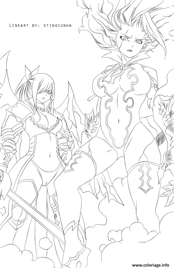 Coloriage Fairy Tail Mirajane And Erza Dessin à Imprimer