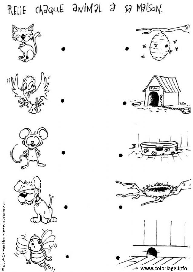Coloriage Relie Chaque Animal A Sa Maison Jeu A Imprimer dessin