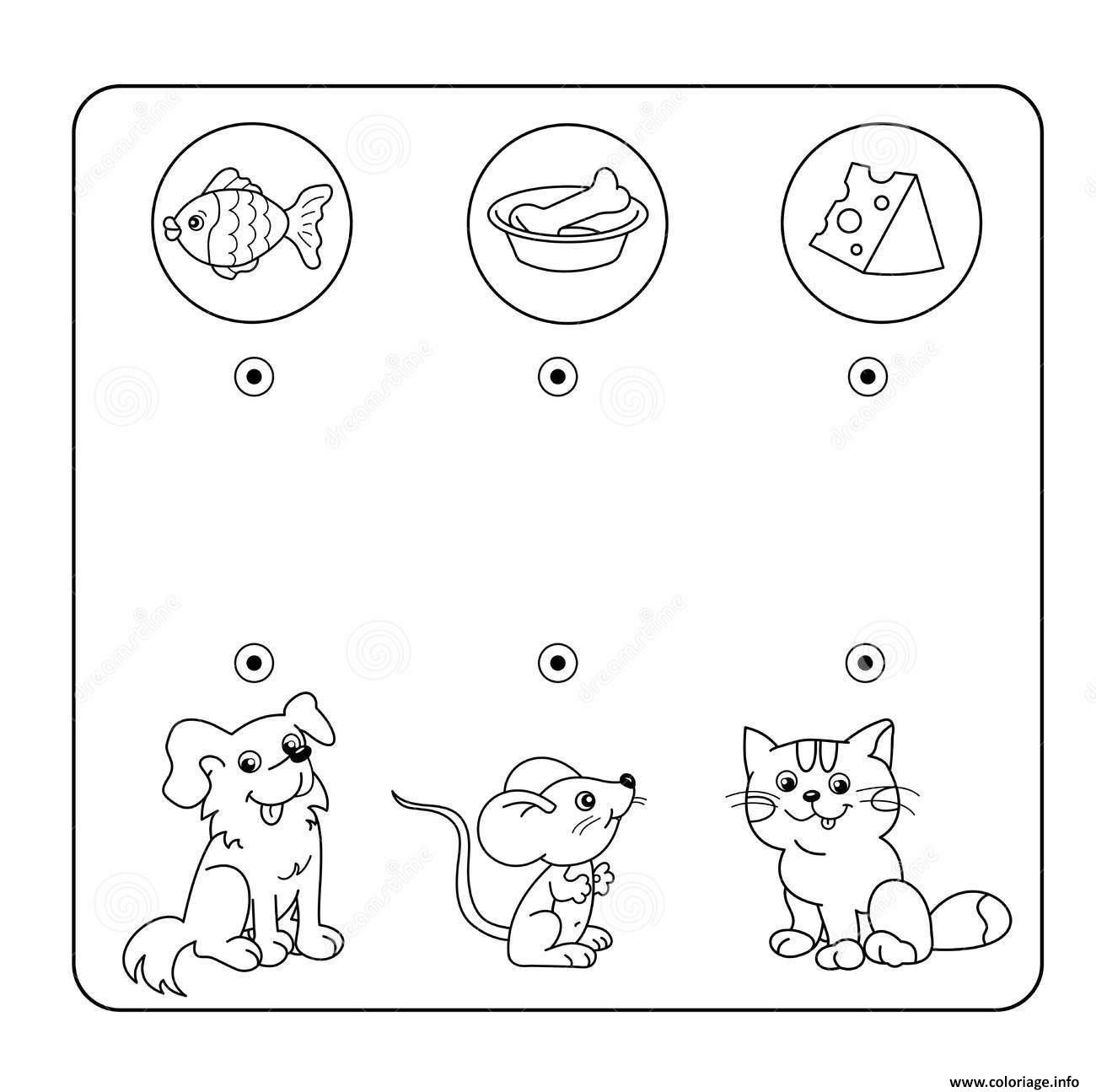 Coloriage Relie Chaque Animal A Son Repas Jeu A Imprimer dessin
