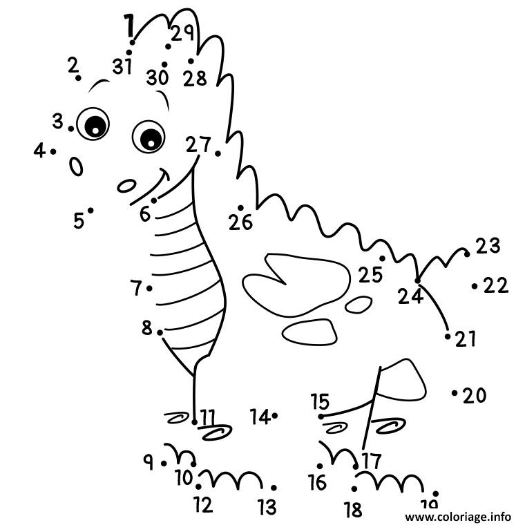 jeu point a relier dinosaure coloriage dessin