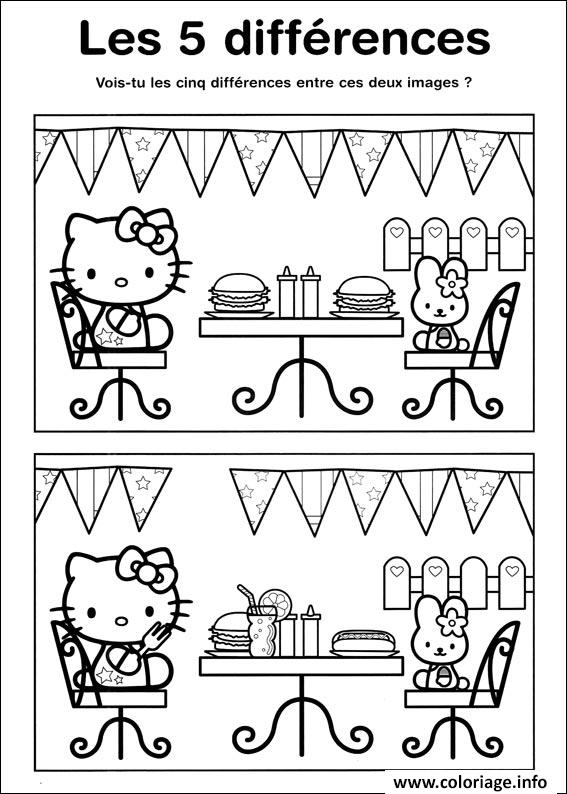 coloriage jeux a imprimer difference hello kitty. Black Bedroom Furniture Sets. Home Design Ideas