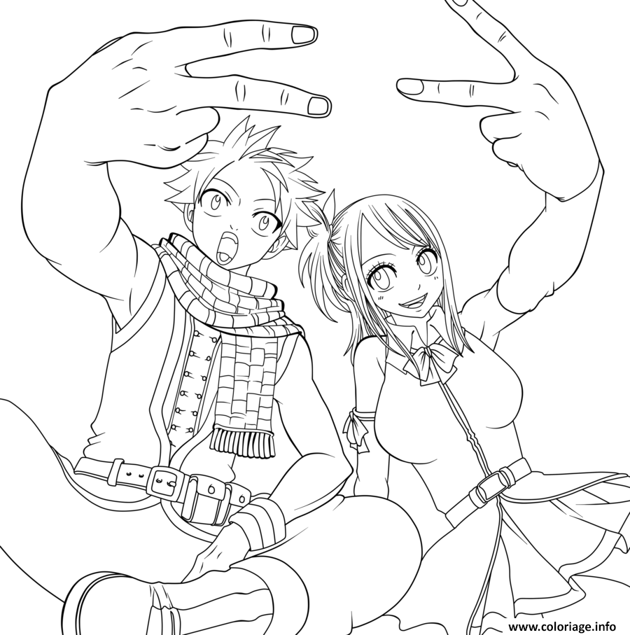 Dessin natsu and lucy peace and love fairy tail Coloriage Gratuit à Imprimer