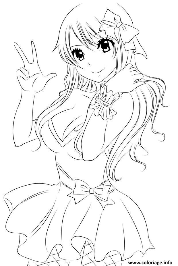 Coloriage Fairy Tail Natsu Cute Sourire Dessin