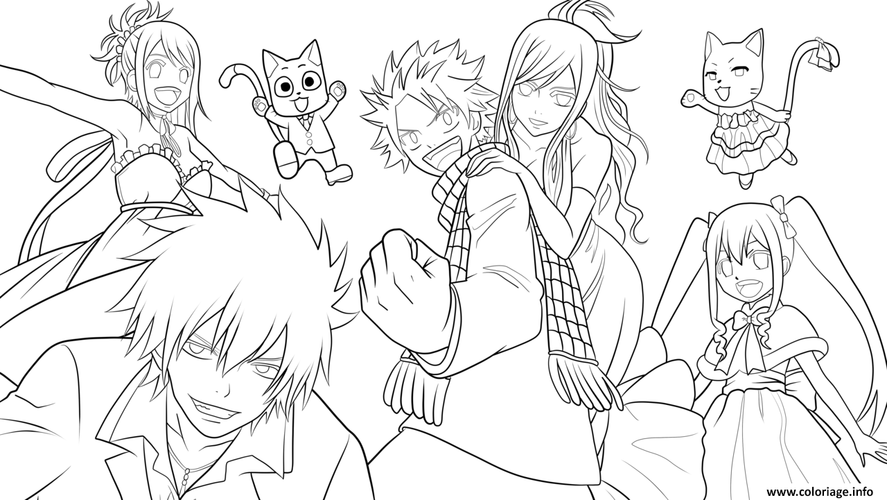 Dessin fairy tail team by xubeix Coloriage Gratuit à Imprimer