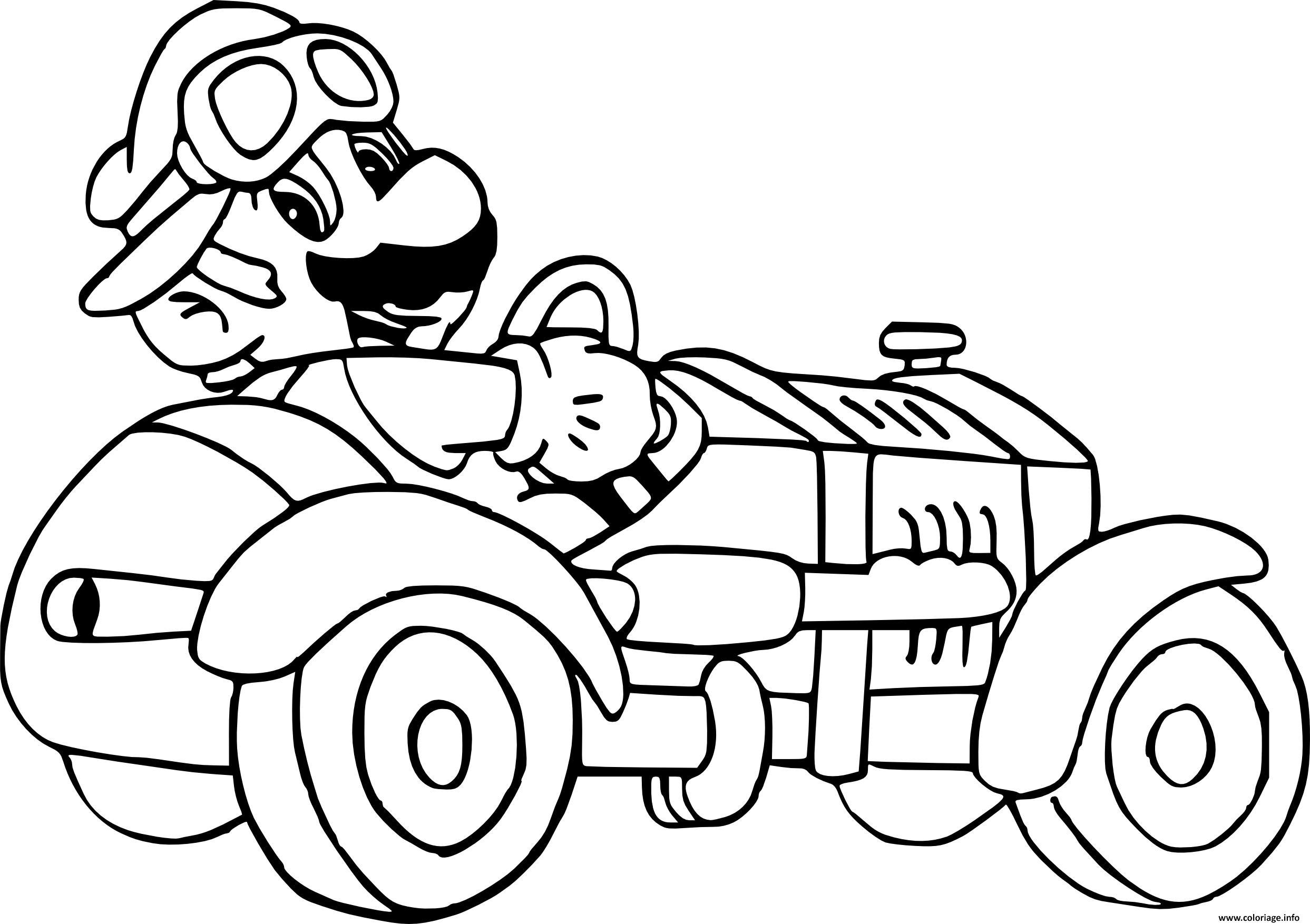 Coloriage mario kart ancienne voiture - Dessin mario kart ...