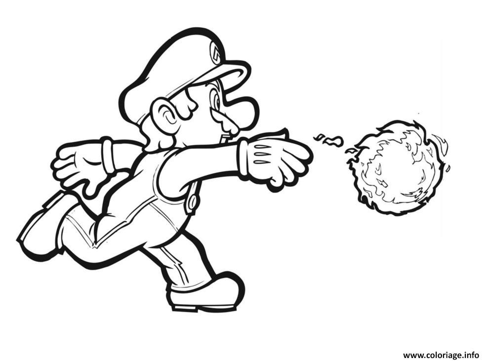 Coloriage Mario Lance Une Boule De Feu