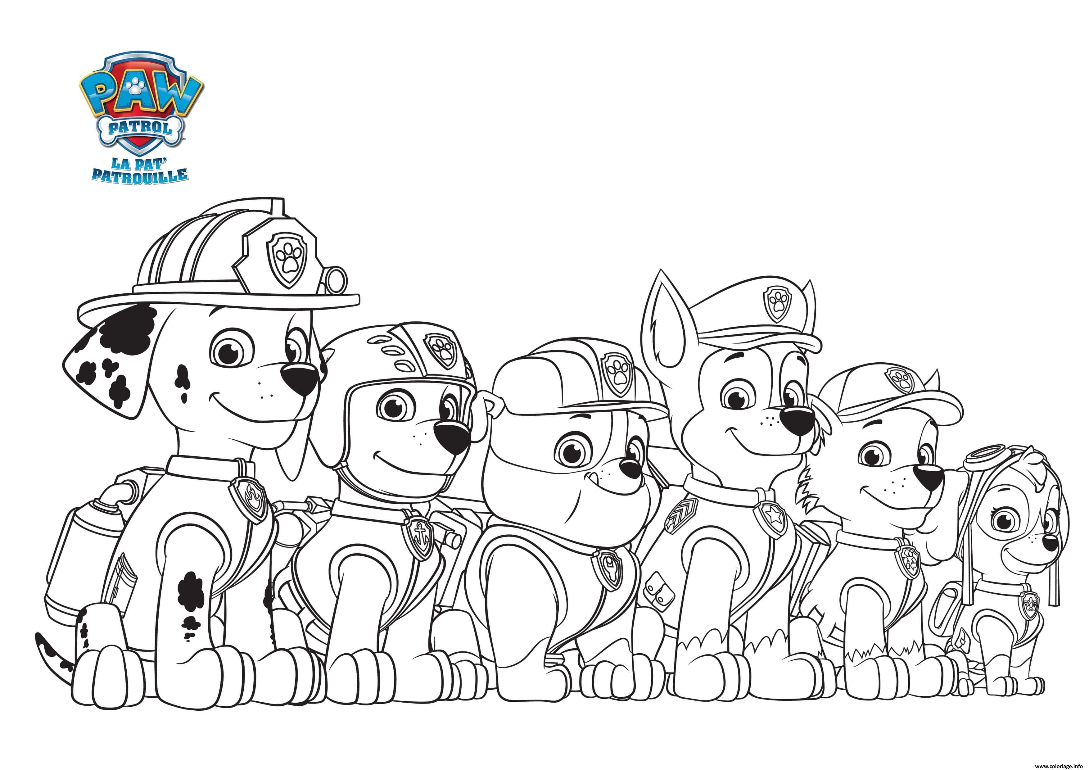 la pat patrouille en rangee min coloriage dessin