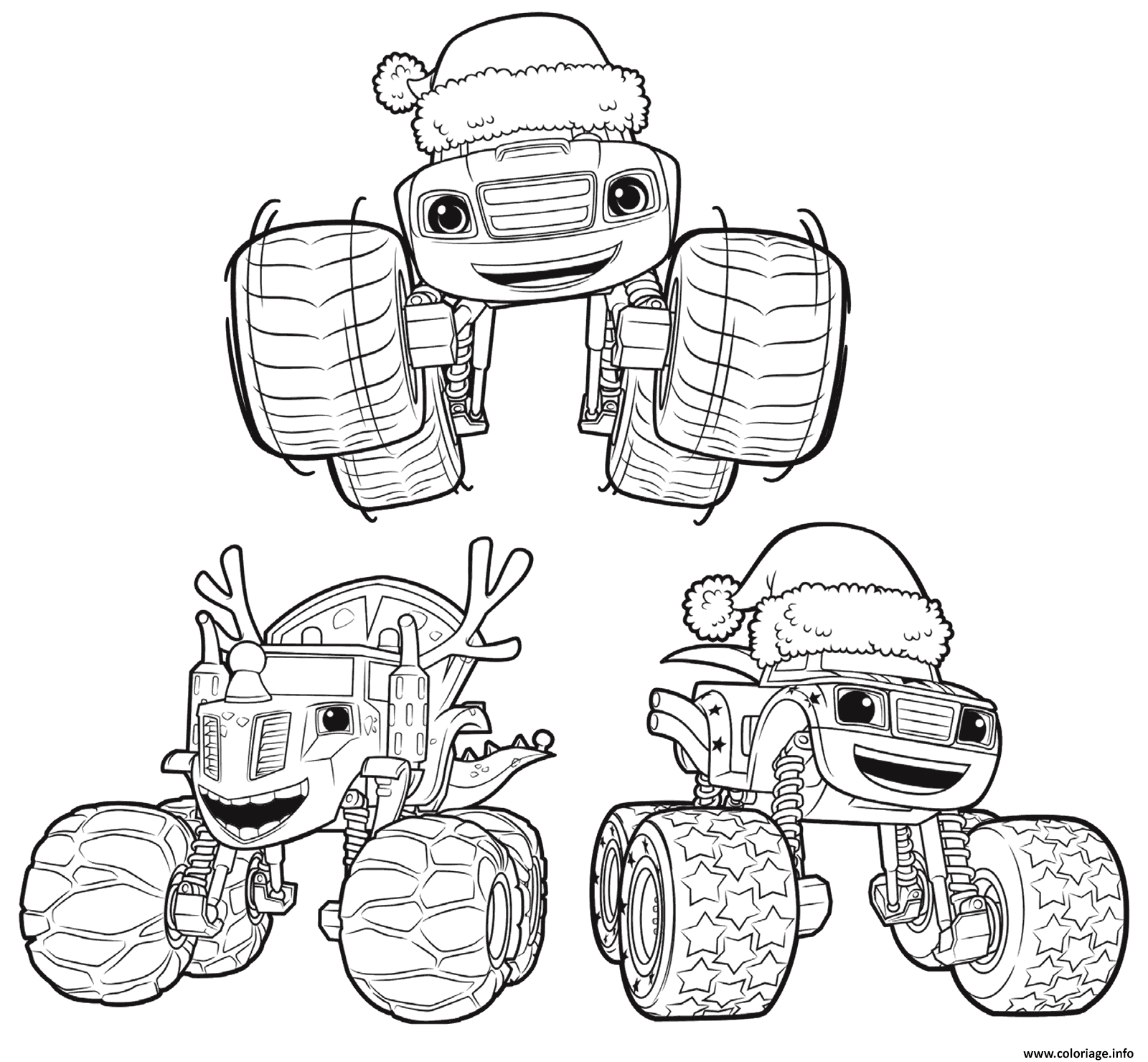 Coloriage voiture blaze 3 monster noel for Printable blaze coloring pages