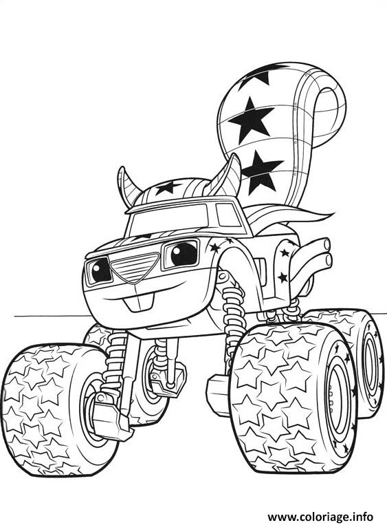 blaze coloring pages free - coloriage voiture blaze darington 3