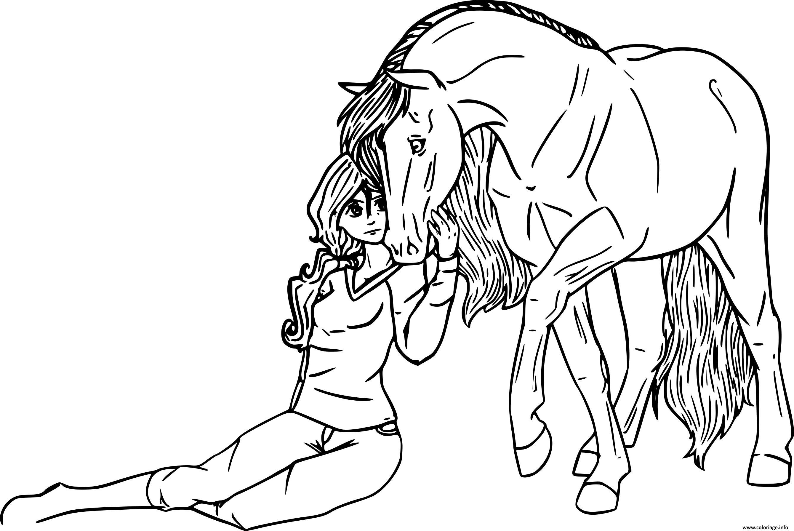 Coloriage une fille se confie a son cheval dessin - Jeux de poney qui saute ...