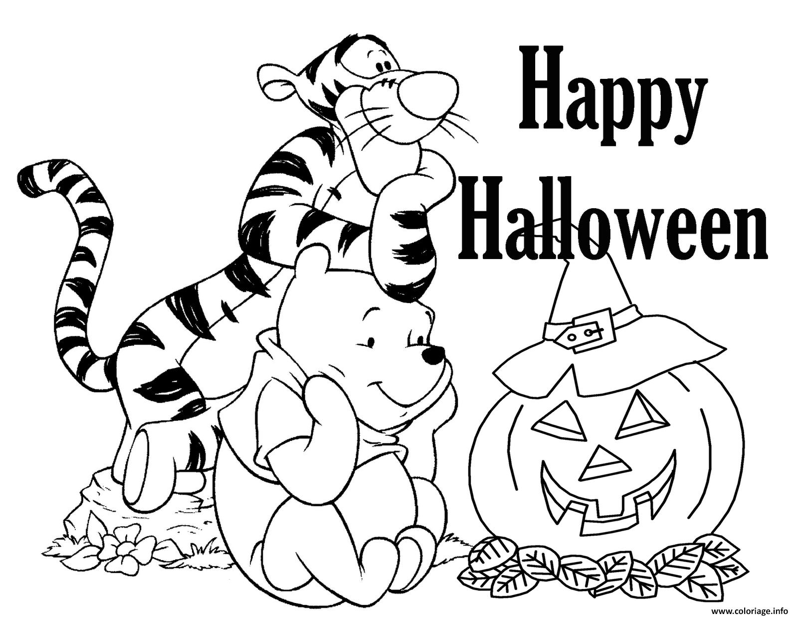 Dessin joyeuse halloween disney tigrou et winnie the pooh Coloriage Gratuit à Imprimer